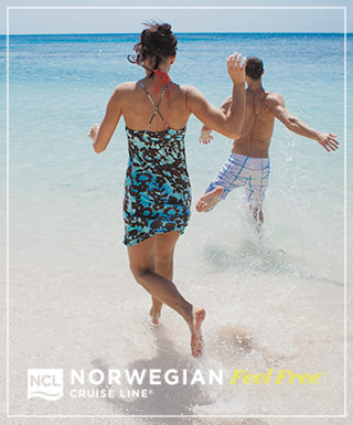 Norwegian Cruise Line passengers on the beach