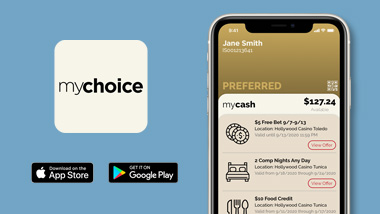 "Screenshot of the mychoice app with information found on the app. mychoice logo and ""Download on the App Store"" & ""Get It On Google Play"" buttons"
