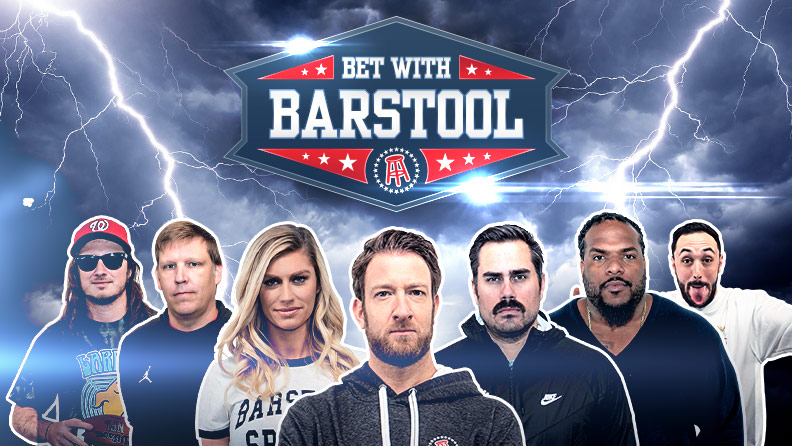 "lightning and stormy background with Barstool Sports team and text: ""Bet with Barstool"""