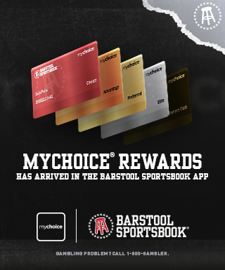"mychoice/barstool cards, text: ""mychoice® rewards has arrived in the Barstool Sportsbook App ? Gambling Problem? Call 1-800-GAMBLER"", mychoice and Barstooll Sportsbook logos"